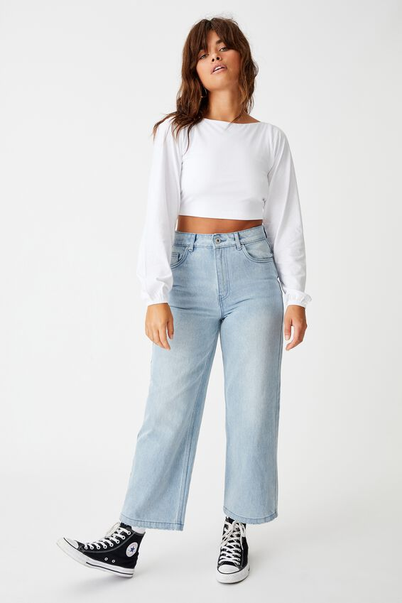 Tie Up Back Statement Sleeve Top, WHITE