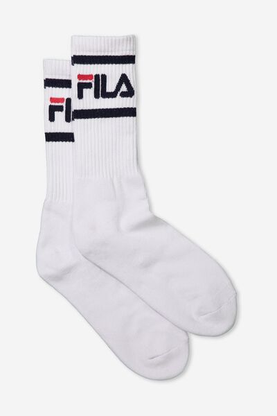 Fila Ribbed Sock, WHITE_2 BLK STRIPE