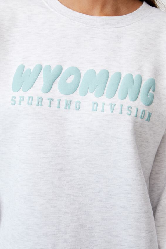 Oversized Graphic Crew, SILVER MARLE/WYOMING