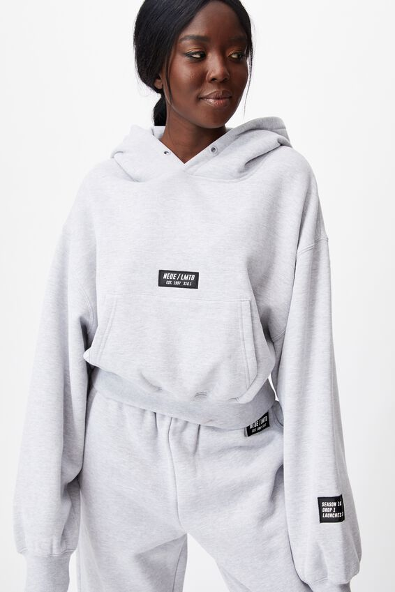 Athluxe Slouchy Cropped Hoodie, GREY MARLE/NEUE LMTD