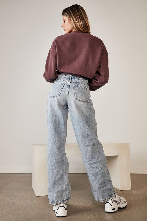High Rise Baggy Jean, LIGHTNING BLUE - RIPPED