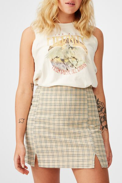 Double Split Mini Skirt, PARKER YELLOW MINI CHECK