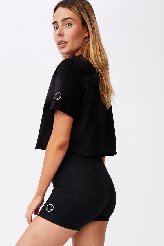 Smiley Raw Edge Graphic T Shirt, LCN SMI BLACK/24HR HAPPINESS