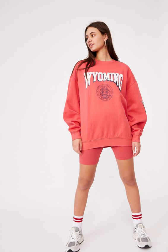 Oversized Graphic Crew, WASHED RED APPLE/WYOMING
