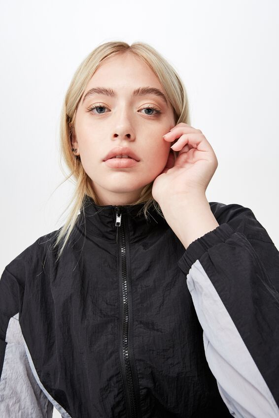 Panelled Windbreaker, BLACK PANELLED