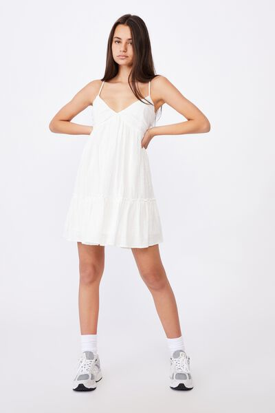 Deep V Textured Tiered Dress, WHITE