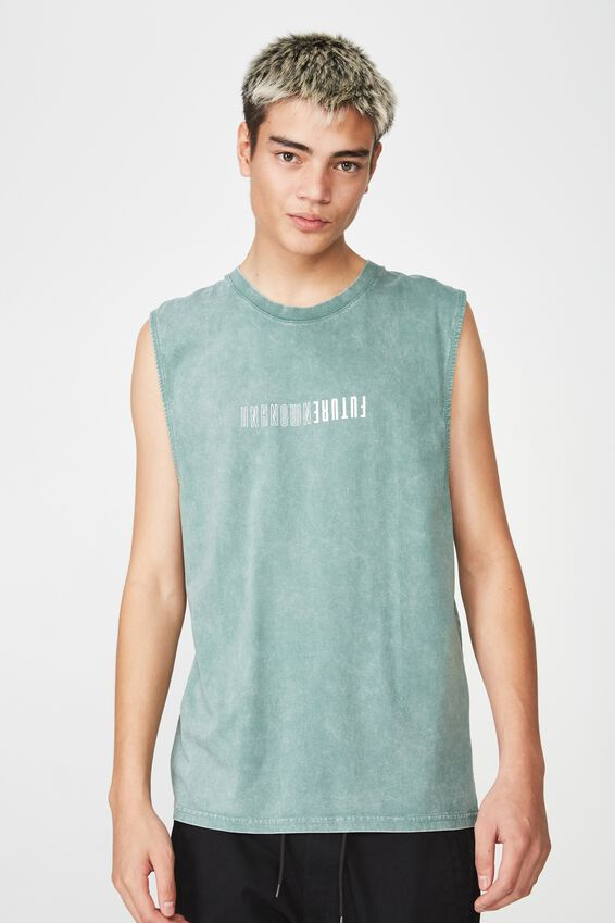 Graphic Muscle Tank, WASHED KHAKI/UNKNOWN FUTURE