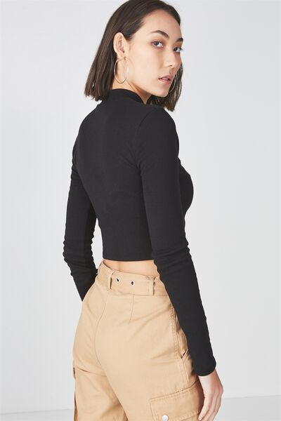 Long Sleeve Funnel Neck Cropped Top, BLACK