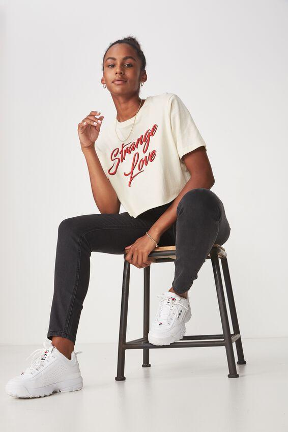 Short Sleeve Raw Edge Crop T Shirt, WHITE ASPARAGUS_STRANGE LOVE
