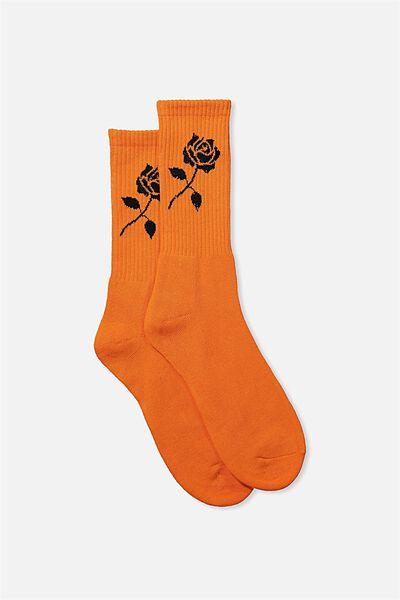 Retro Ribbed Socks, PUFFINS_BLK ROSE