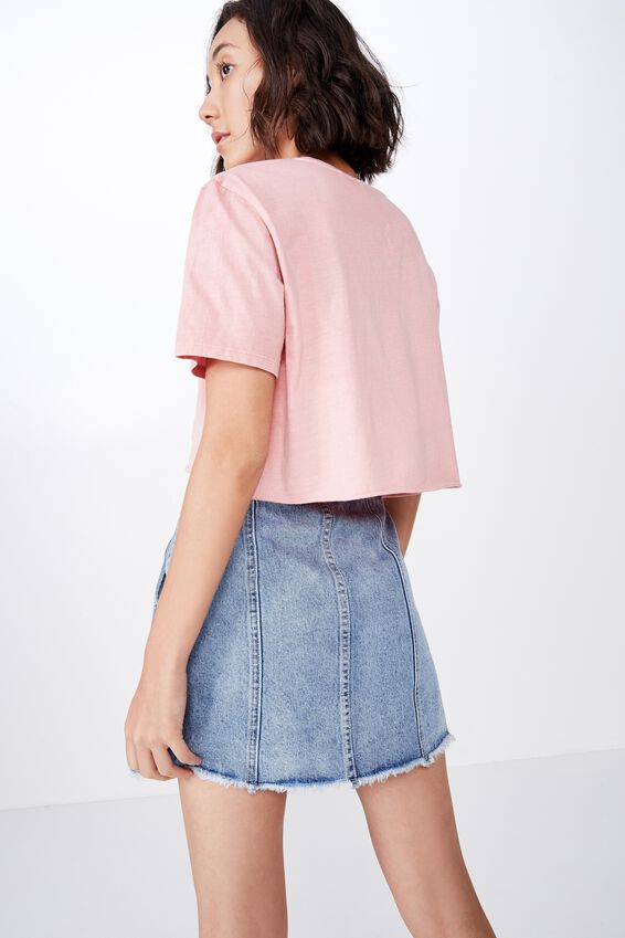 Short Sleeve Raw Edge Crop T Shirt, ZEPHYR/MADE IN HEAVEN