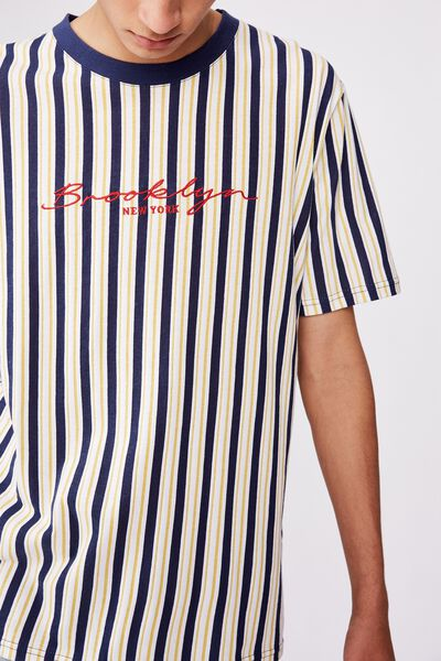 Embroidered Stripe T Shirt, WHITE/BROOKLYN