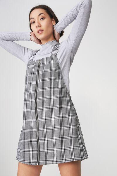 Zip Front Dress, BLACK / WHITE CHECK