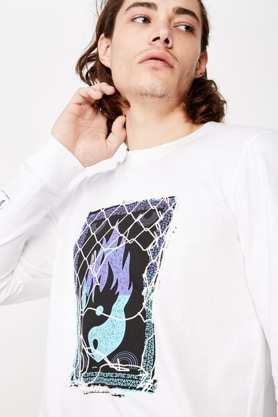 Slim Long Sleeve Graphic T Shirt, WHITE/MASTERS