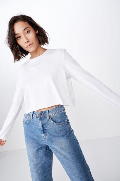 Long Sleeve Raw Edge Graphic Tshirt, ANTI SOCIAL/WHITE
