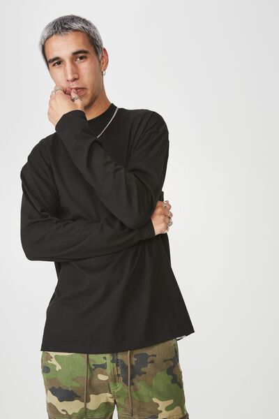 Long Sleeve Mock Neck T Shirt, BLACK