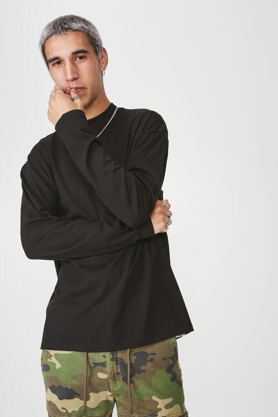 Long Sleeve Mock Neck T Shirt, BLACK