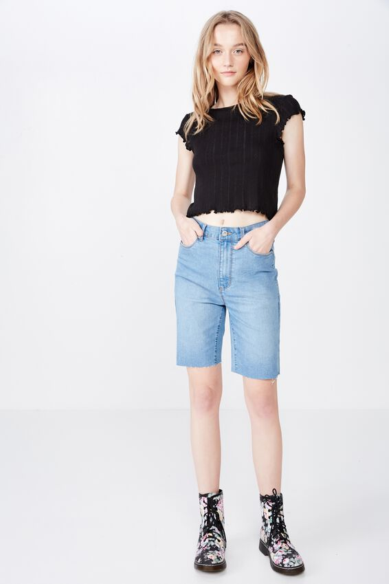 Short Sleeve Pointelle Top, BLACK