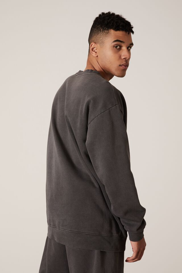 Elite Oversized Crew, WASHED BLACK/YOU RE WELCOME