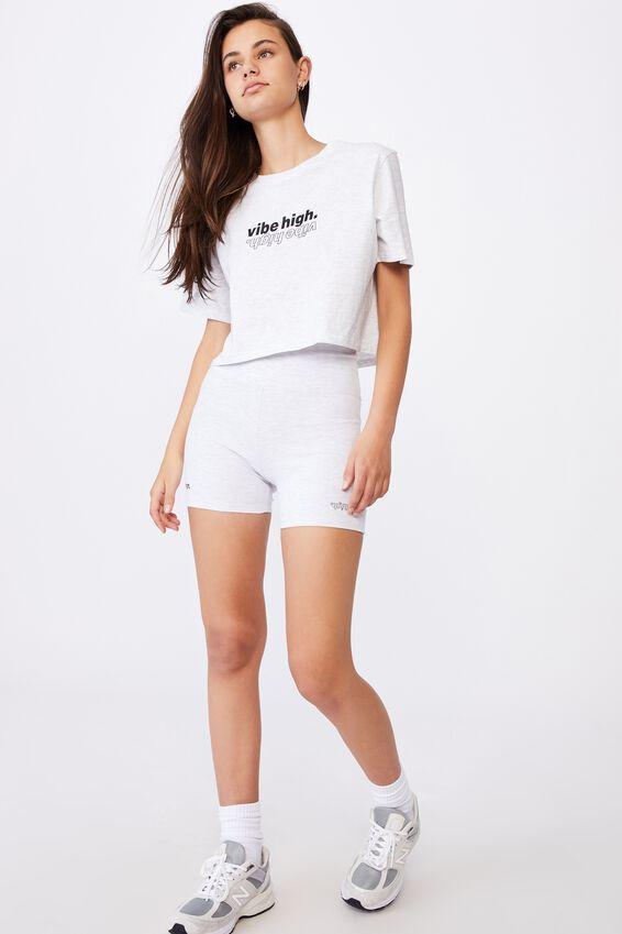 Short Sleeve Raw Edge Crop Graphic T Shirt, SILVER MARLE/VIBE HIGH