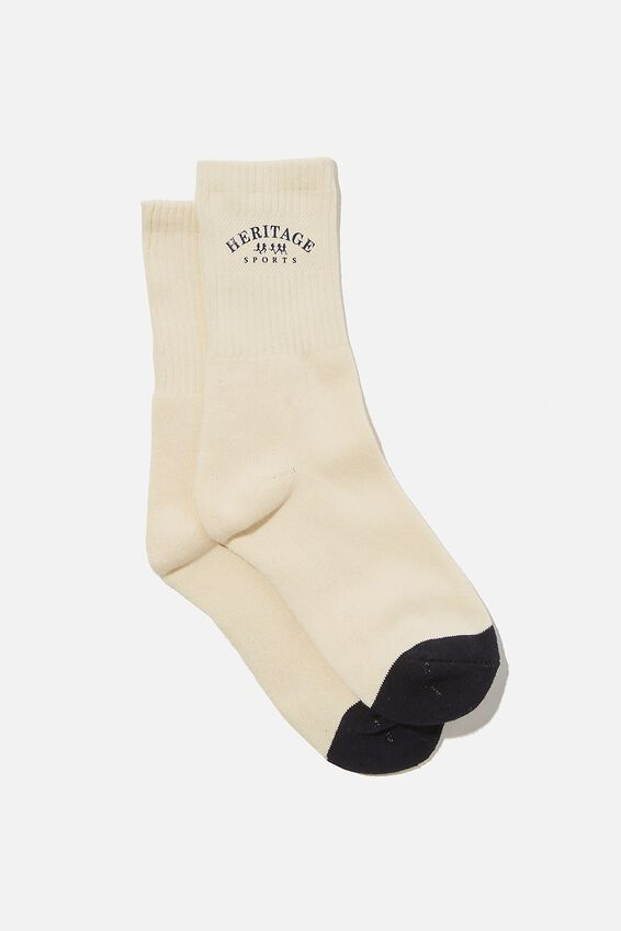 Retro Sport Sock, IVORY/HERITAGE SPORT