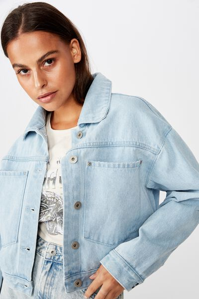 Patch Pocket Denim Jacket, BLEACH WASH
