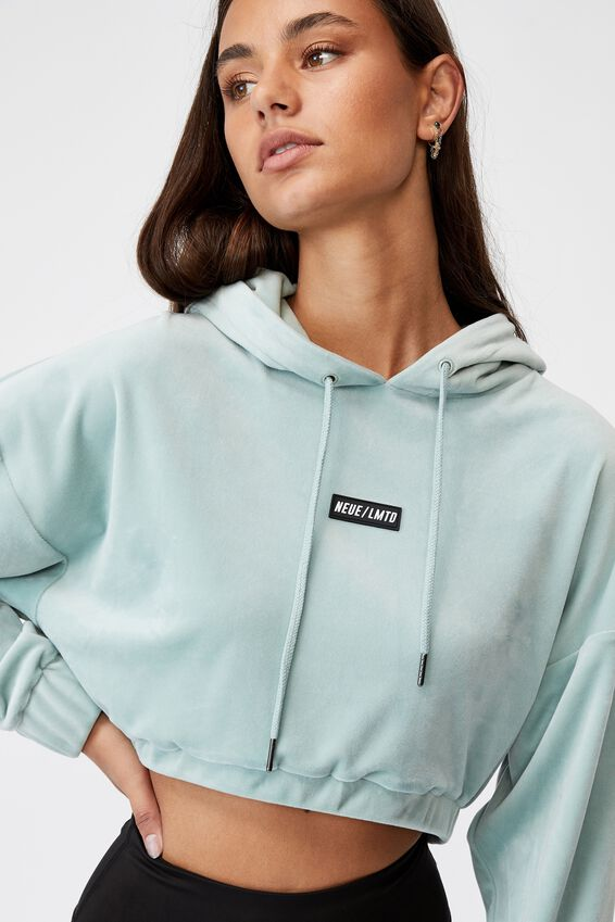 Velour Cropped Hoody, ETHER