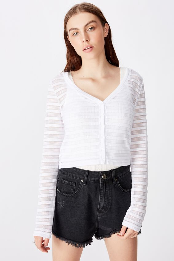 Textured Table Cardi, WHITE