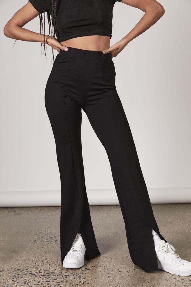 Front Split Pull On Pant, BLACK