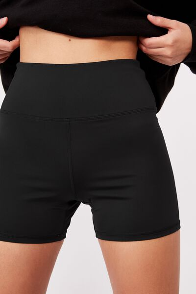 Cheeky Elevated High Waisted Bike Short, BLACK