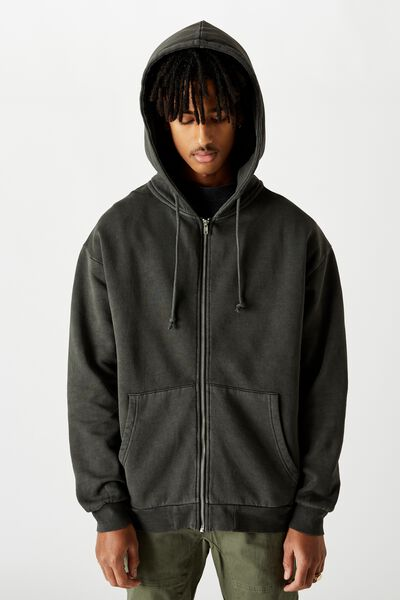 Washed Zip Through Hoodie, WASHED BLACK