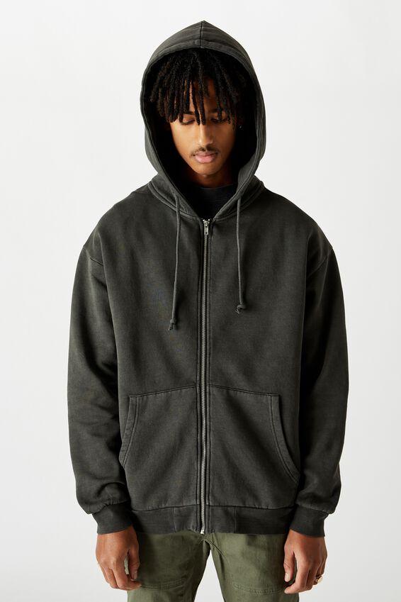 Washed Zip Through Hoodie, WASHED BLACK