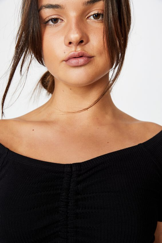 Pull Front Off The Shoulder Rib Top, BLACK