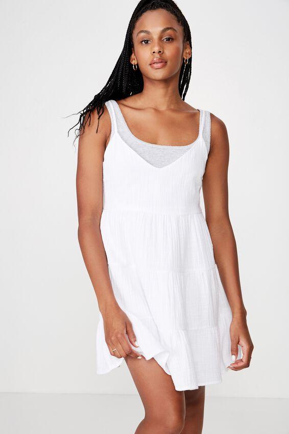 Tiered Dress, WHITE