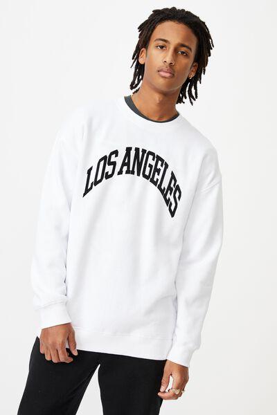 Oversized Graphic Crew, WHITE/LOS ANGELES