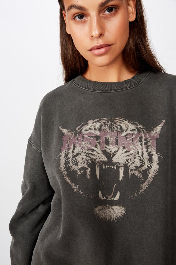 Graphic Sweater, WASHED BLACK/INSTINICT TIGER