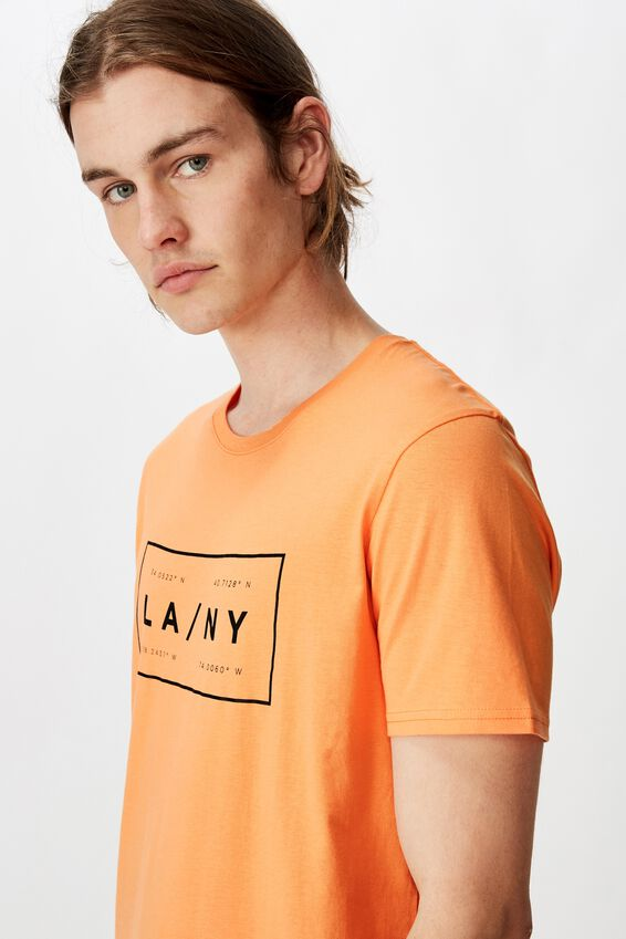 Curved Graphic T Shirt, WASHED ORANGE SORBET/LA TO NY