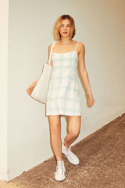 Check Dress, ALINA AQUA CHECK