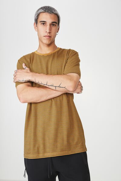 Slim Stripe T Shirt, OCHRE/BLACK STRIPE