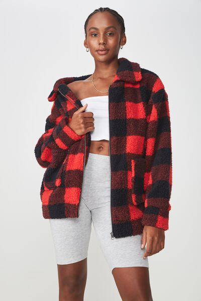 Teddy Zip Jacket, BLK/RED CHECK