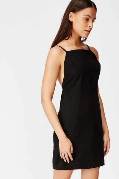 Strappy Mini Dress, BLACK