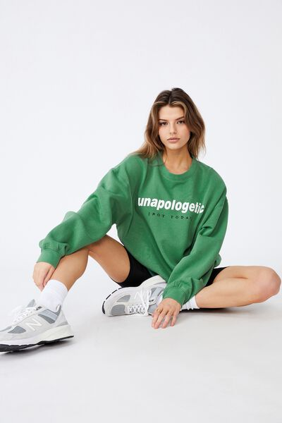 Oversized Graphic Crew, WASHED ECO GREEN/UNAPOLOGETIC