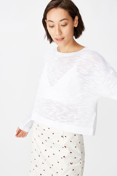 Long Sleeve Textured Top, WHITE