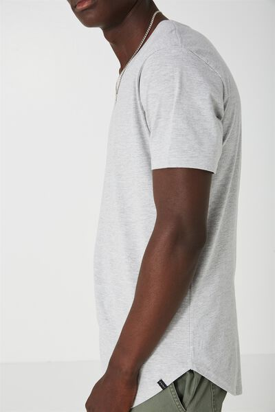 Curved T Shirt., LIGHT GREY MARLE