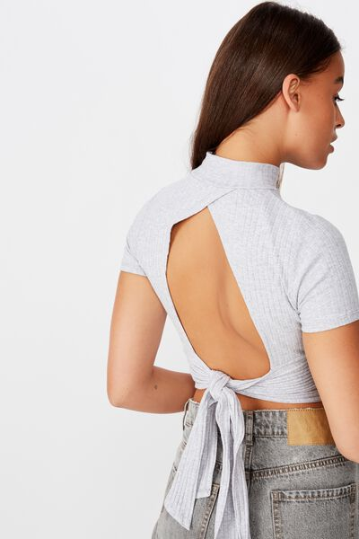 Ss Back Detail Top, GREY MARLE