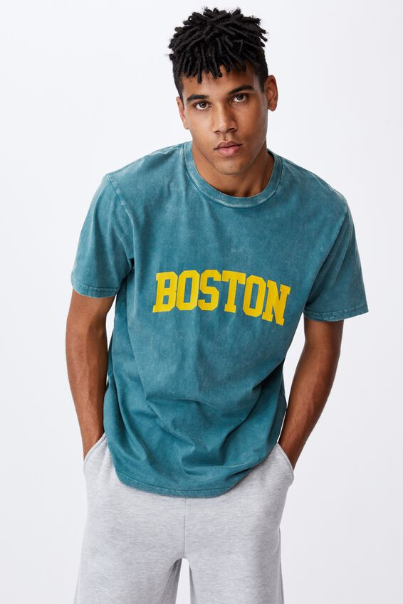 Regular Graphic T Shirt, WASHED PINE TEAL/BOSTON
