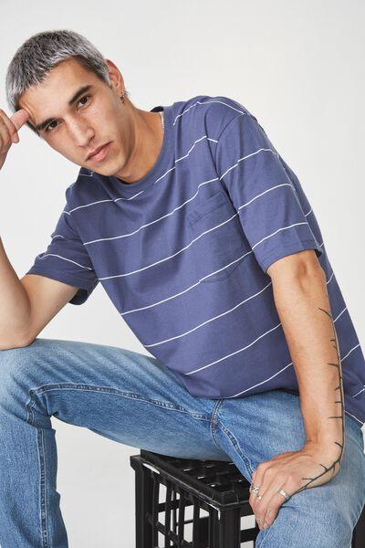 Stripe Pocket T Shirt, WASHED DENIM BLUE/WHITE STRIPE