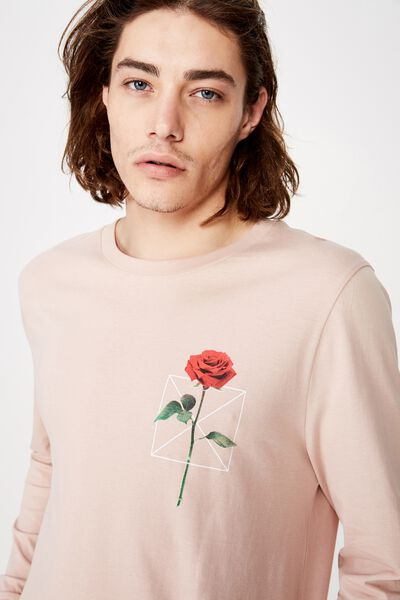 Curved Long Sleeve Graphic T Shirt, SANDY PEACH/THORNS