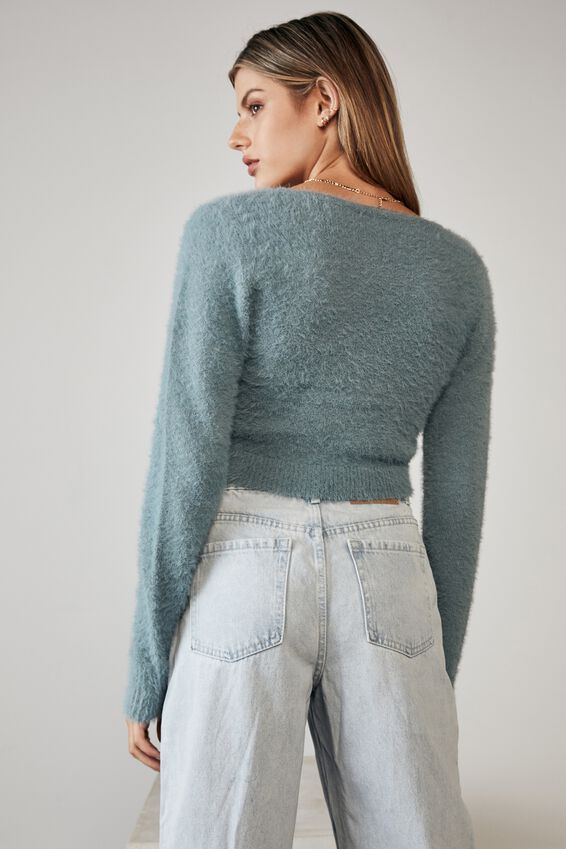 Fluffy Knit Pull Front Top, PETROL BLUE
