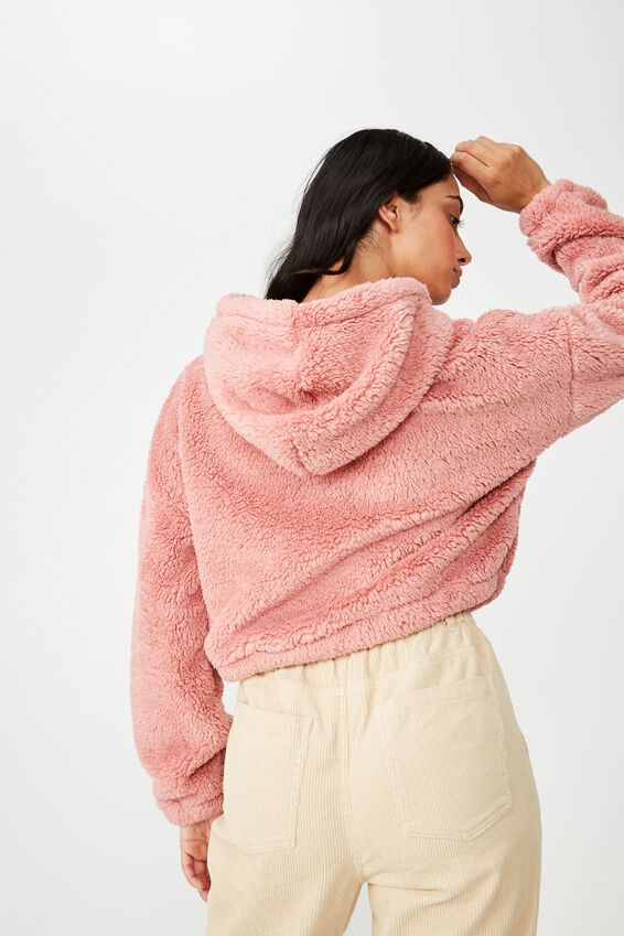 Plush Toggle Hem Hoodie, DUSTY ROSE
